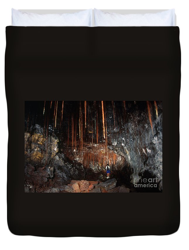 Science Duvet Cover featuring the photograph View Inside Kaumana Lava Tube, Hawaii by Gregory G. Dimijian, M.D.
