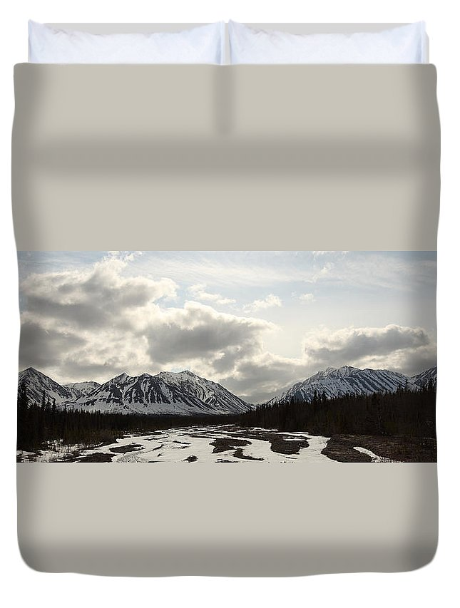 Light Duvet Cover featuring the photograph View Of Quill Creek In Kluane National by Robert Postma