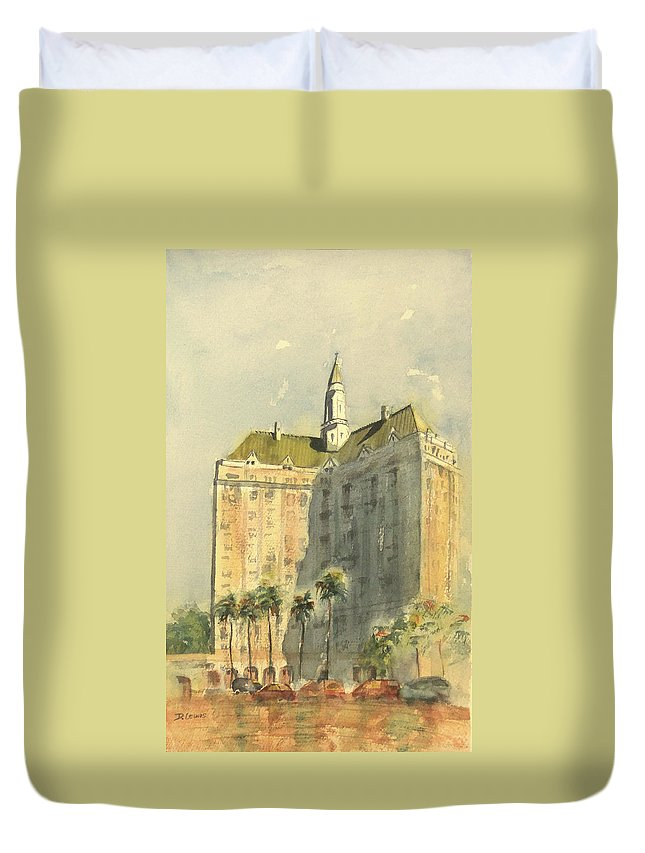 Villa Riviera Duvet Cover featuring the painting Villa Riviera Another View by Debbie Lewis