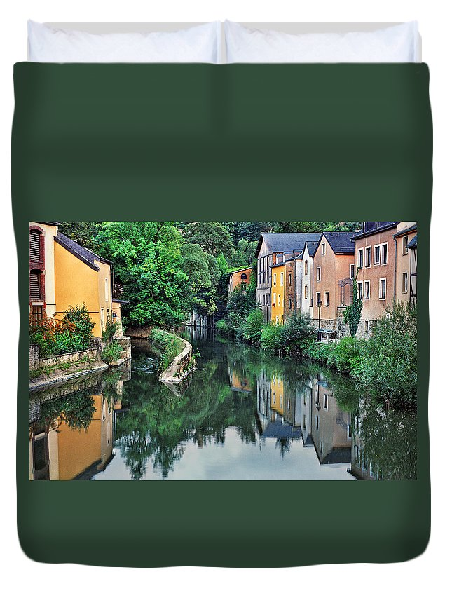 Luxembourg Duvet Cover featuring the photograph Village Reflections In Luxembourg II by Greg Matchick