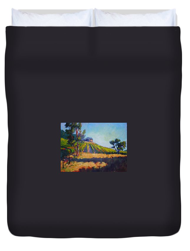 Vineyards Duvet Cover featuring the painting Vineyards At Sarver by Margaret Plumb