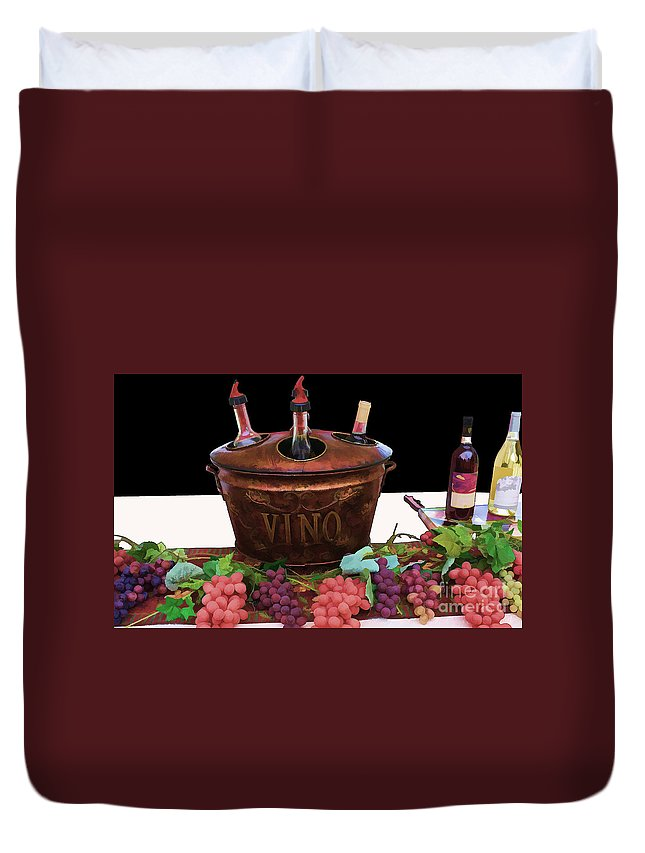 Wine Duvet Cover featuring the digital art Vino by Tommy Anderson