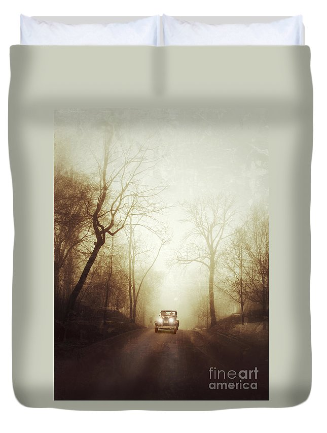 Car Duvet Cover featuring the photograph Vintage Car On Foggy Rural Road by Jill Battaglia
