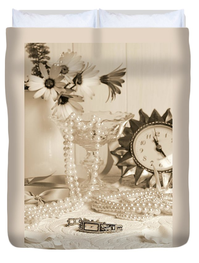 Vintage Duvet Cover featuring the photograph Vintage Dressing Table by Amanda Elwell