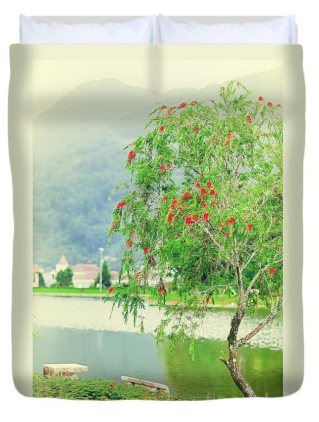 Lake Duvet Cover featuring the photograph Vintage Landscape by MotHaiBaPhoto Prints