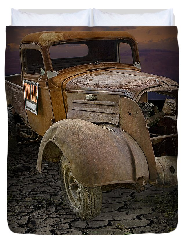 Art Duvet Cover featuring the photograph Vintage Pickup On Parched Earth by Randall Nyhof
