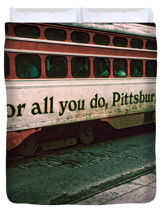 Pigeon Duvet Cover featuring the photograph Vintage Pittsburgh Trolly by Chris Lord