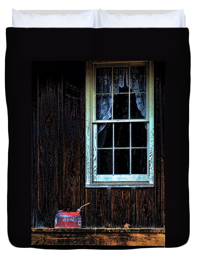 Vintage Duvet Cover featuring the photograph Vintage Porch Window And Gas Can by Kathy Clark
