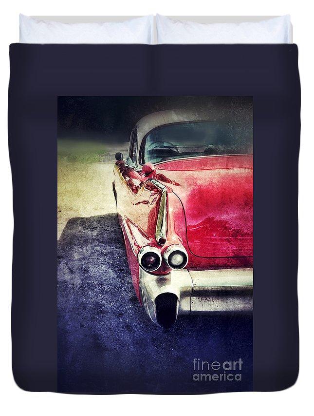 Car Duvet Cover featuring the photograph Vintage Red Car by Jill Battaglia