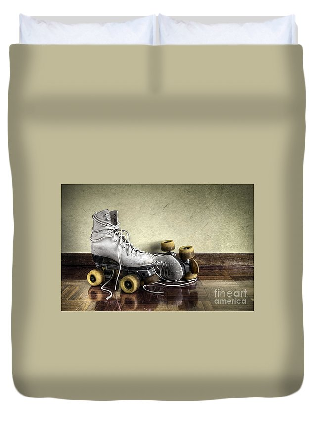 Active Duvet Cover featuring the photograph Vintage Roller Skates by Carlos Caetano