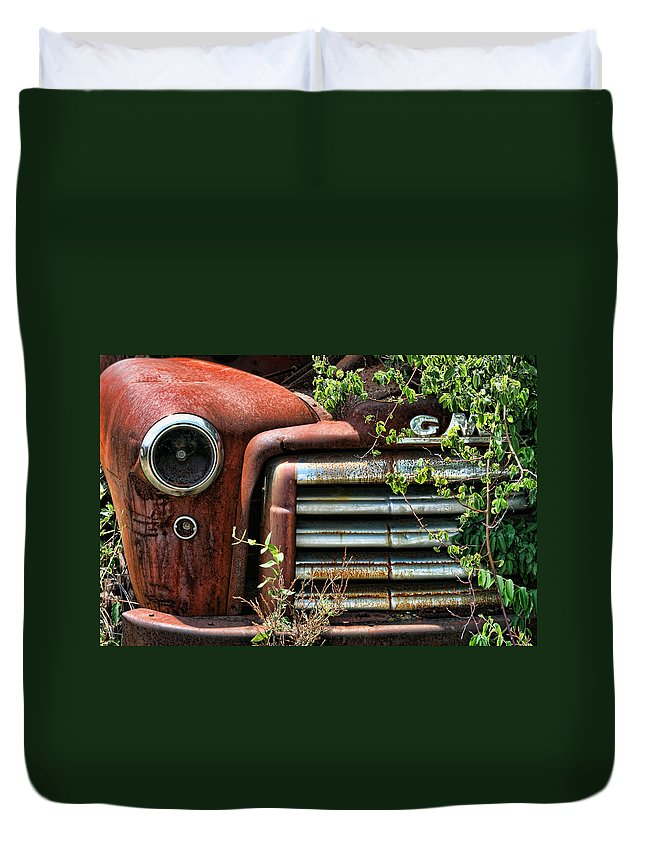 Gmc Duvet Cover featuring the photograph Vintage Rusty Dusty Gmc Graveyard Truck by Kathy Clark