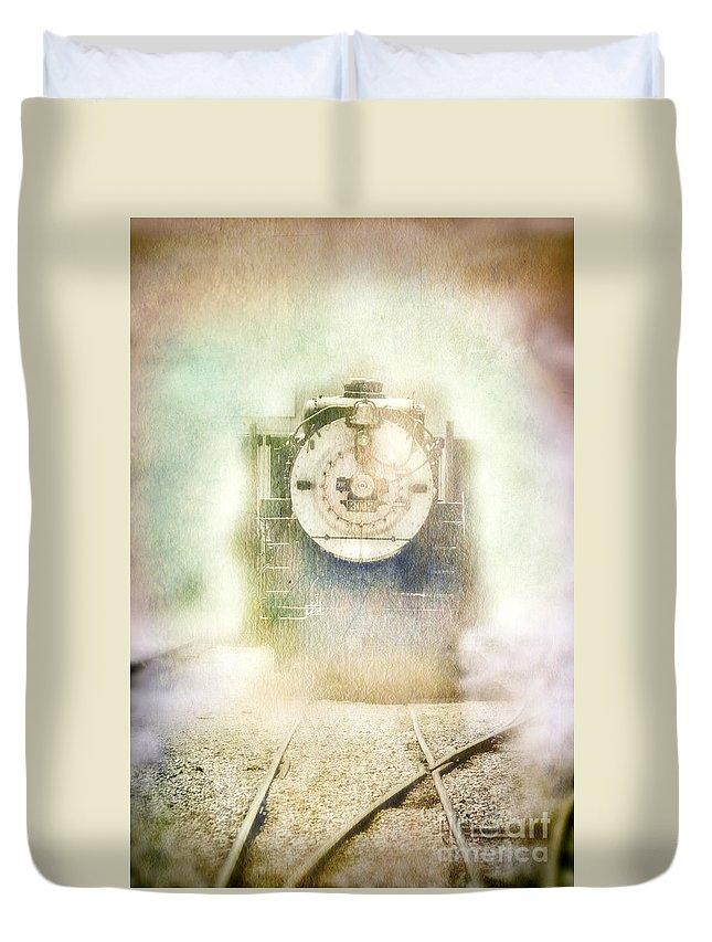 Engine Duvet Cover featuring the photograph Vintage Train Engine by Jill Battaglia