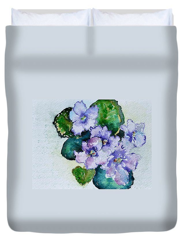 Violets Duvet Cover featuring the painting Violet Cluster by Beverley Harper Tinsley