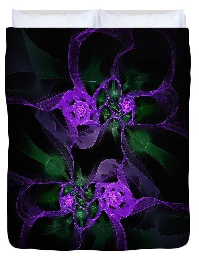 Fractal Duvet Cover featuring the digital art Violet Floral Edgy Abstract by Andee Design