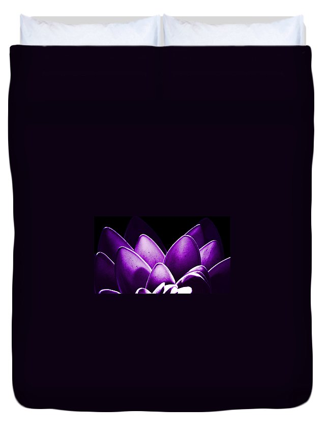 Lotus Blossom Dawn Dusk Flora Plants Happiness Intimacy Passion Duvet Cover featuring the photograph Violet Lotus by Sumit Mehndiratta