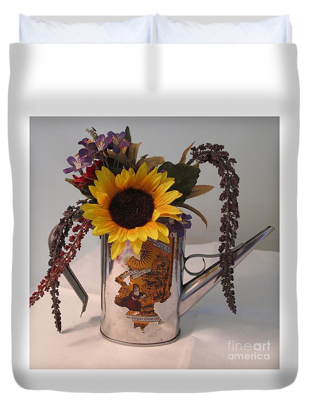 Virgin Duvet Cover featuring the photograph Virgin Olive Oil by Sandy McIntire