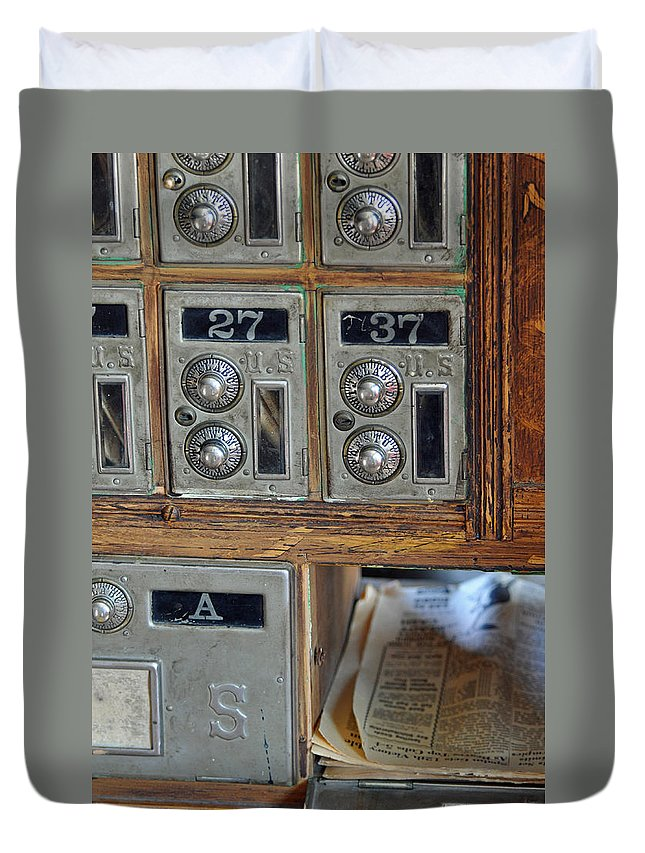 Virginia City Duvet Cover featuring the photograph Virginia City Post Office Box by Bruce Gourley