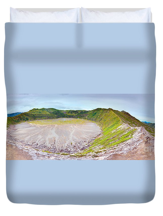 Crater Duvet Cover featuring the photograph Volcano Crater by MotHaiBaPhoto Prints