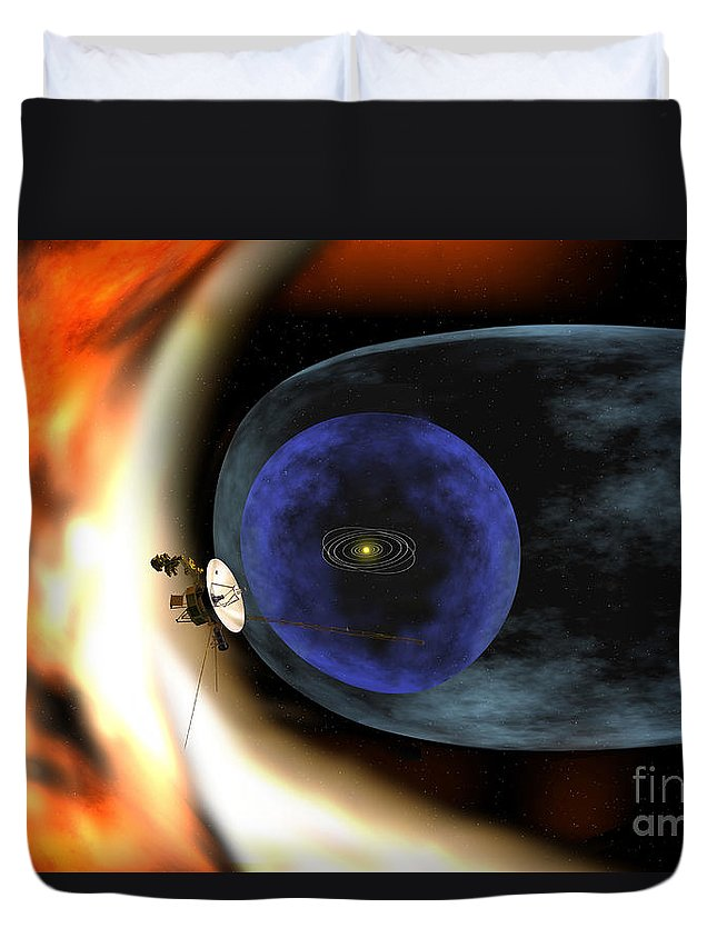 Orbit Duvet Cover featuring the digital art Voyager 2 Spacecraft Studies The Outer by Stocktrek Images
