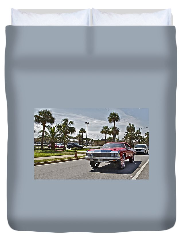 Red Car Auto Automobile Chevy Palms Duvet Cover featuring the photograph Vroom Vroom by Alice Gipson