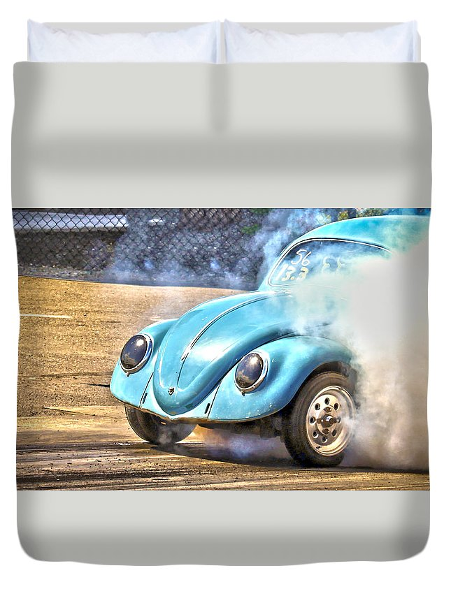 Race Duvet Cover featuring the photograph Vw Smoke Show by Steve McKinzie