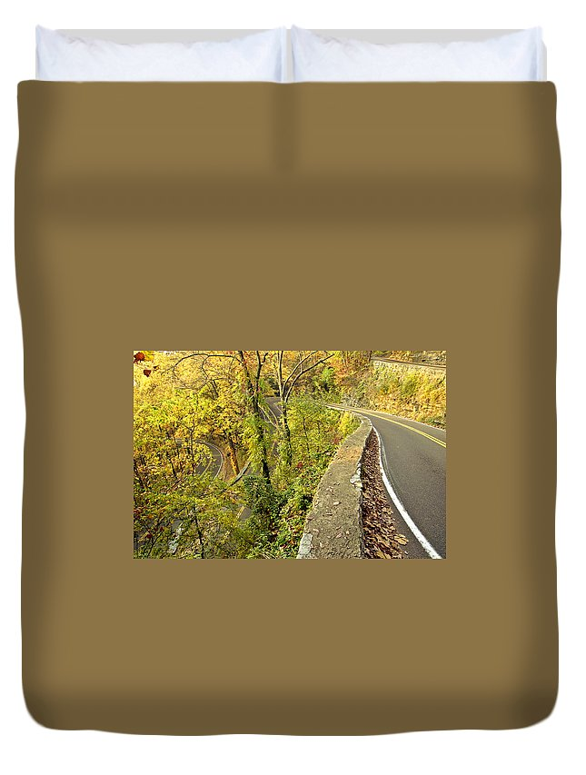 W Road Duvet Cover featuring the photograph W Road In Autumn by Tom and Pat Cory