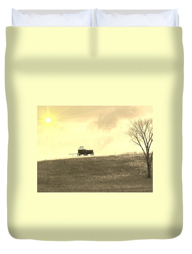 Photo Duvet Cover featuring the photograph Wagon Hill by Barbara S Nickerson