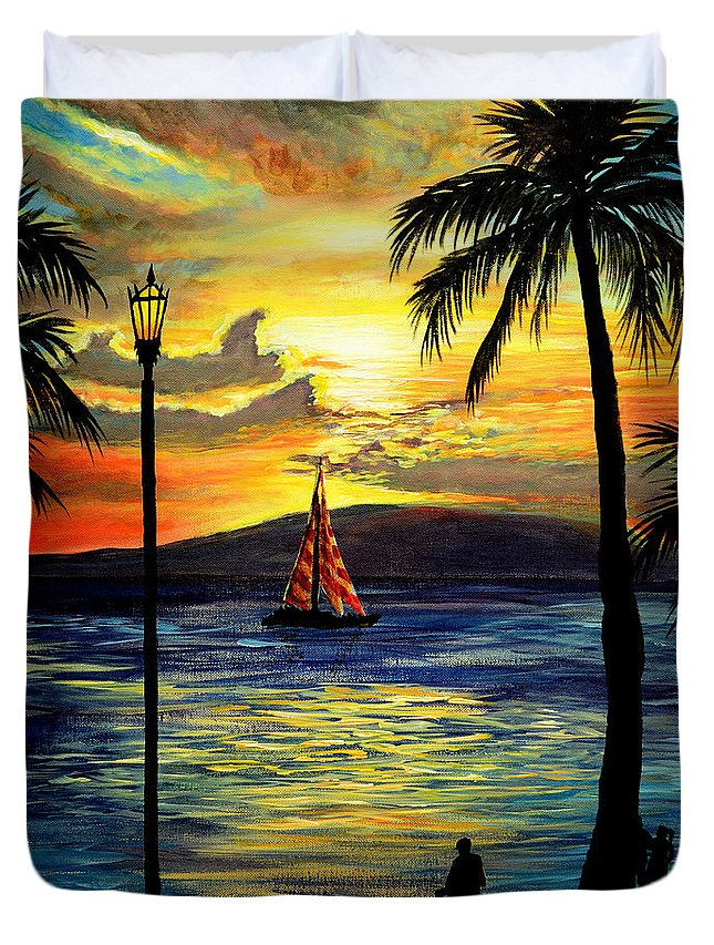 Waikiki Duvet Cover featuring the painting Waikiki Beach Sunset by Patricia L Davidson