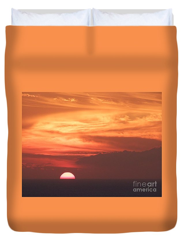 Mary Deal Duvet Cover featuring the photograph Waikiki Sunset No 4 by Mary Deal