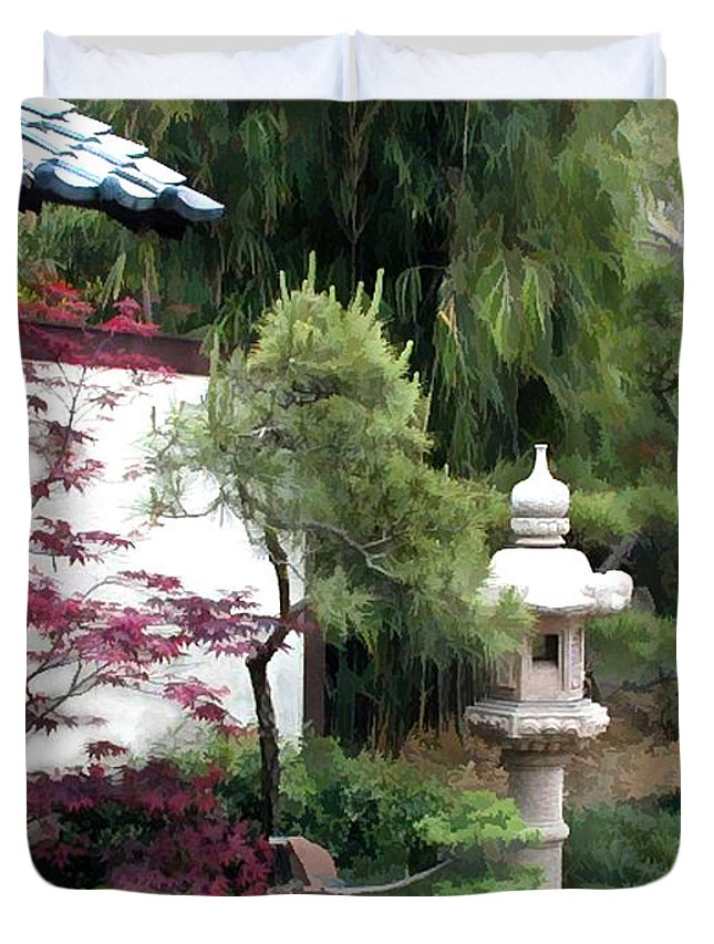 Japanese Garden Duvet Cover featuring the painting Waiting At The Entry Wall by Elaine Plesser