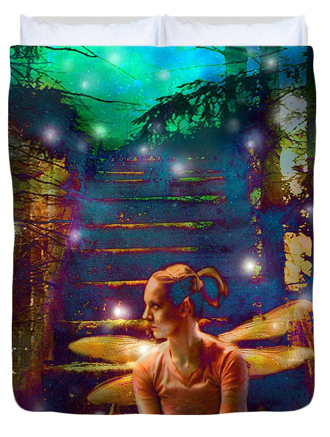 Fairy Duvet Cover featuring the photograph Waiting At The Gates Of Dawn by Nada Meeks