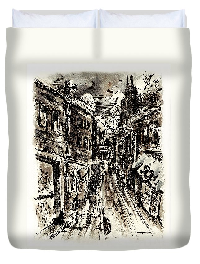 City Duvet Cover featuring the painting Walkin In The City by William Russell Nowicki