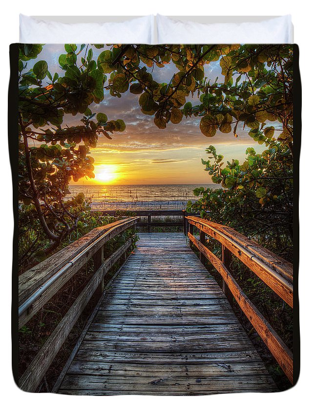 Boardwalk Duvet Cover featuring the photograph walkway to Paradise by Nick Shirghio
