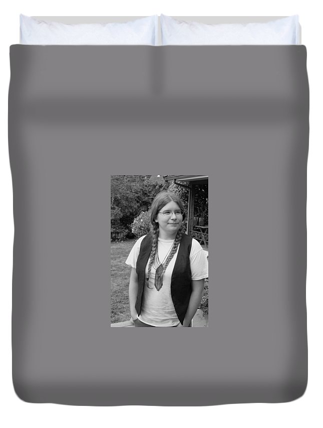 Portrait Duvet Cover featuring the photograph Wanted To Be Janis Joplin by Kym Backland
