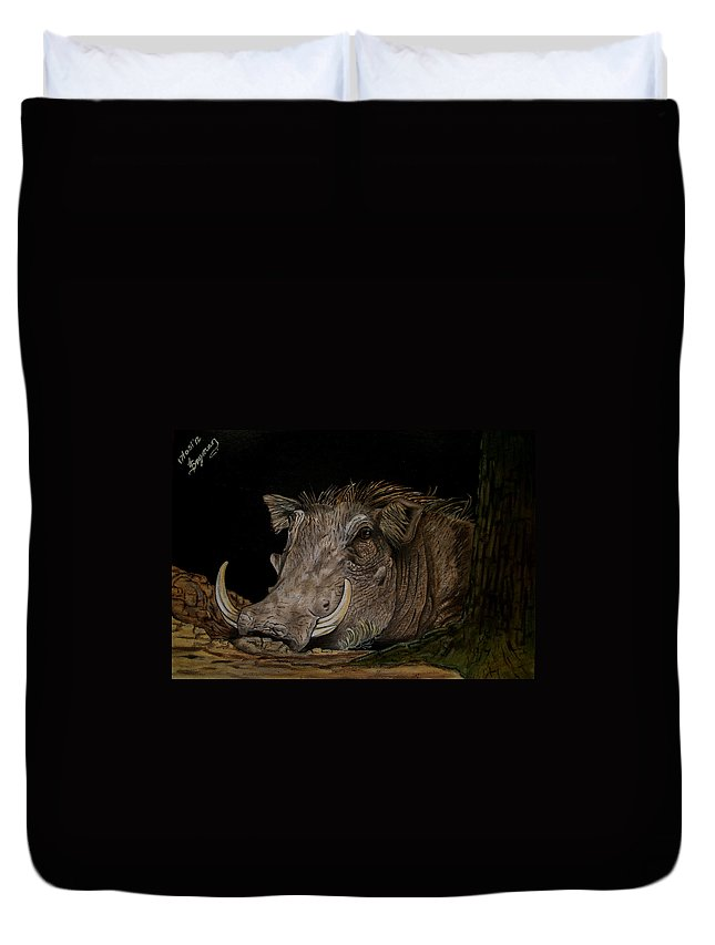 Warthog Duvet Cover featuring the painting Warthog by Tracey Beer