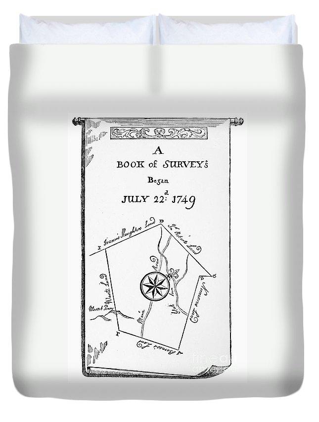 1749 Duvet Cover featuring the photograph Washington: Book Of Surveys by Granger