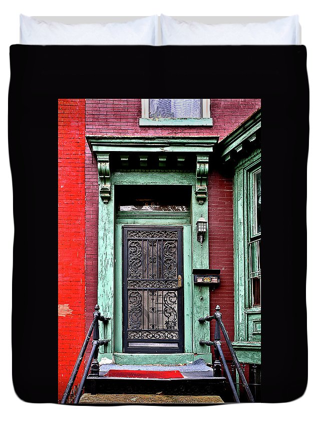 Duvet Cover featuring the photograph Washington Doorway by Burney Lieberman