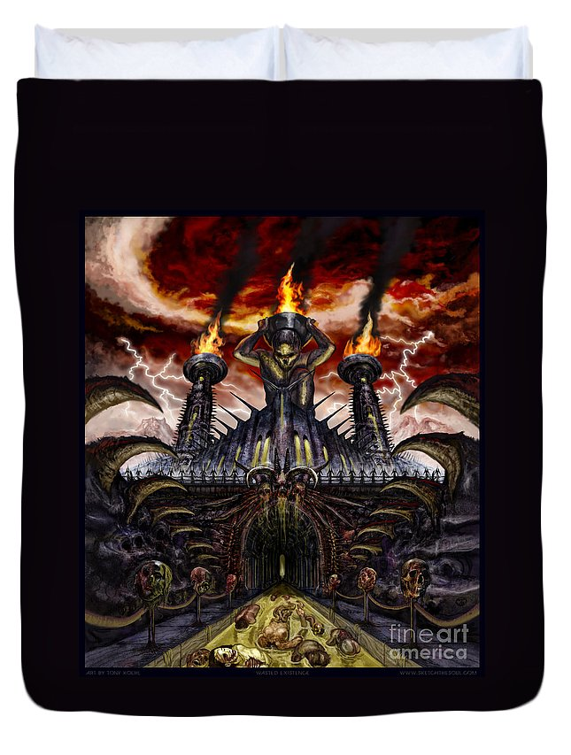 Hideous Deformity Duvet Cover featuring the mixed media Wasted Existence by Tony Koehl