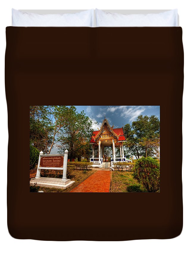 Hdr Duvet Cover featuring the photograph Wat Kham Chanot by Adrian Evans