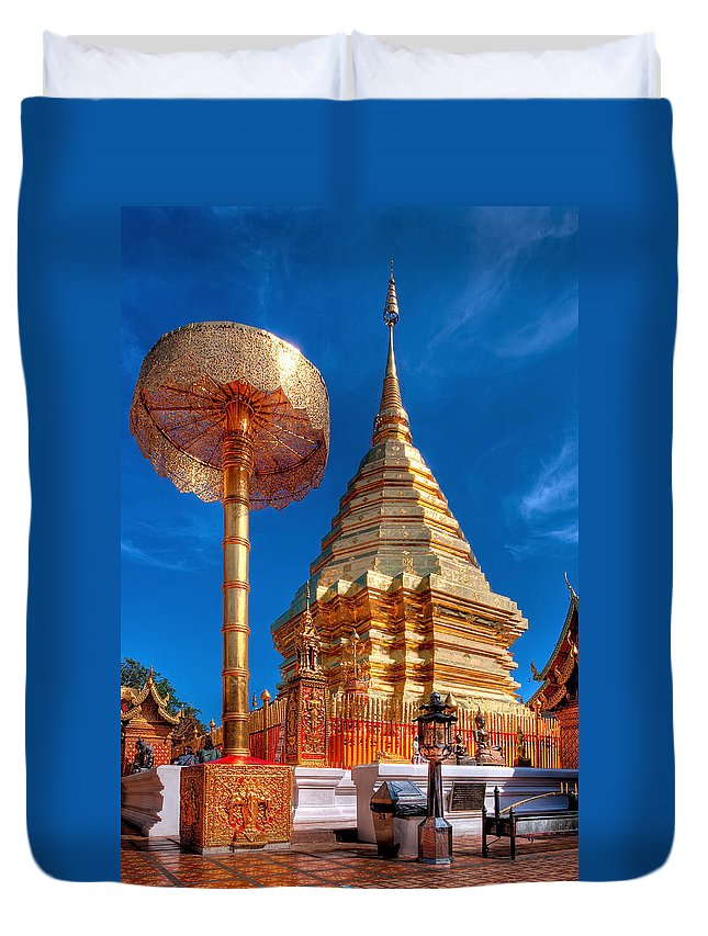 Buddhist Temple Duvet Cover featuring the photograph Wat Phrathat Doi Suthep by Adrian Evans