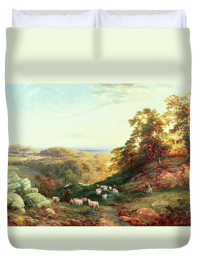 Watching The Flock Duvet Cover featuring the painting Watching The Flock by George Vicat Cole