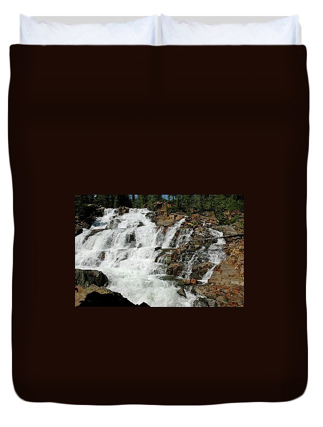 Usa Duvet Cover featuring the photograph Water In Motion Glen Alpine Falls by LeeAnn McLaneGoetz McLaneGoetzStudioLLCcom