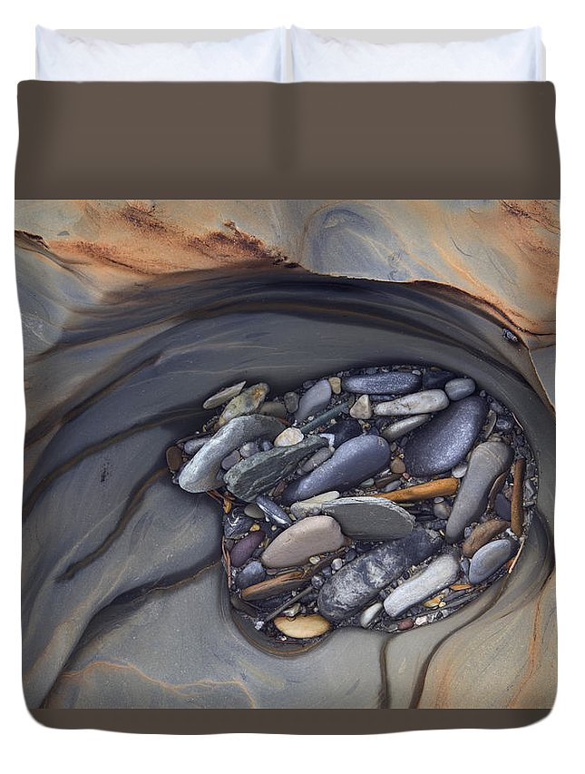 Light Duvet Cover featuring the photograph Water Sculpted Rock Bed, Kicking Horse by Darwin Wiggett