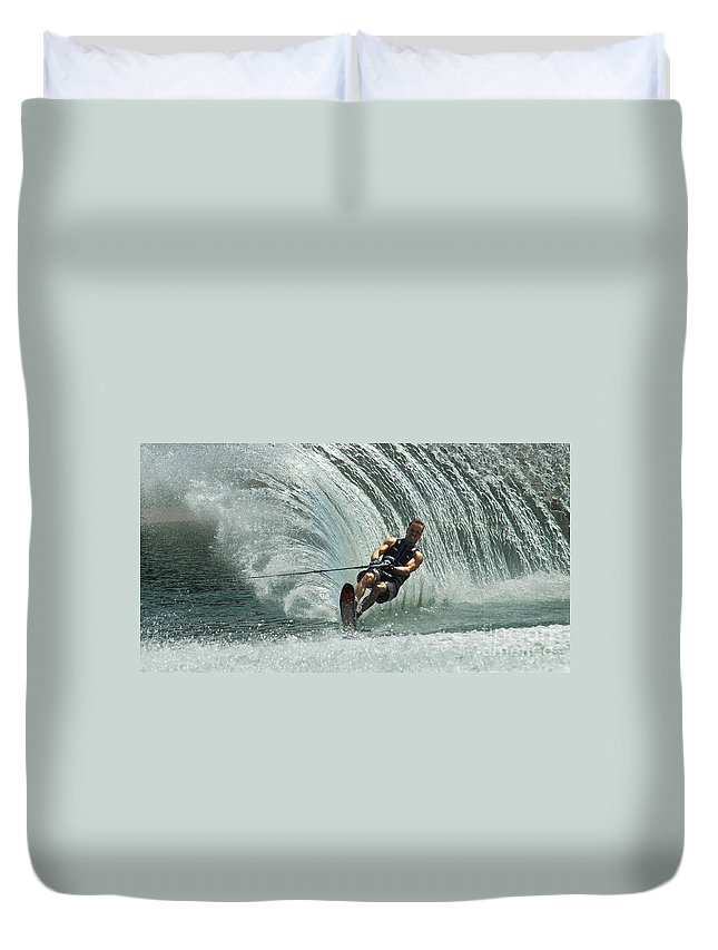 Water Skiing Duvet Cover featuring the photograph Water Skiing Magic Of Water 10 by Bob Christopher