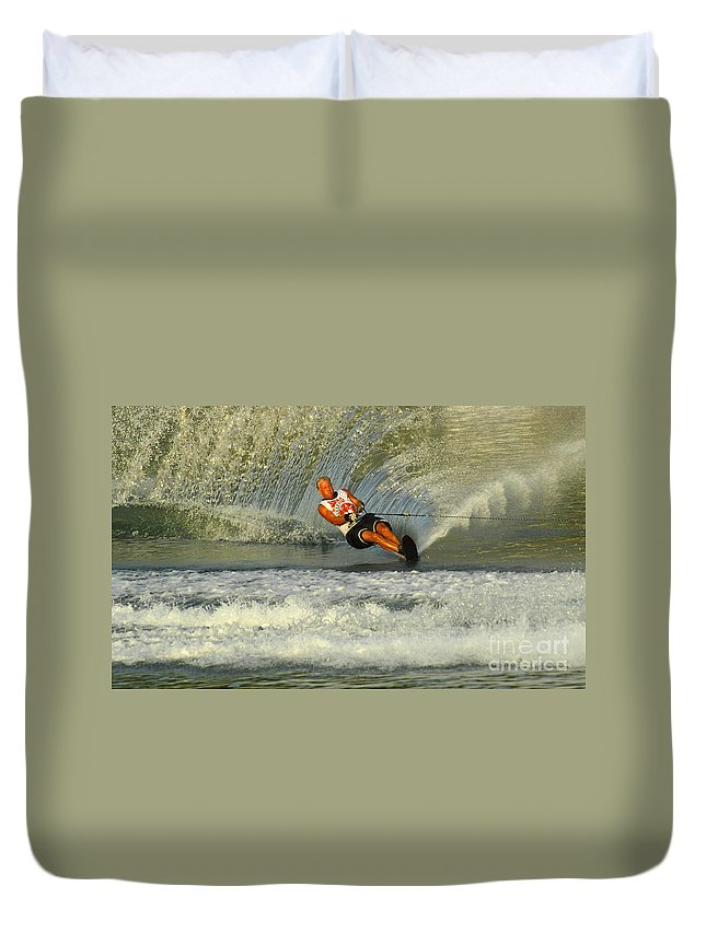 Water Skiing Duvet Cover featuring the photograph Water Skiing Magic Of Water 4 by Bob Christopher