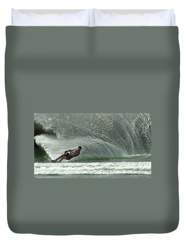 Water Skiing Duvet Cover featuring the photograph Water Skiing Magic Of Water 7 by Bob Christopher