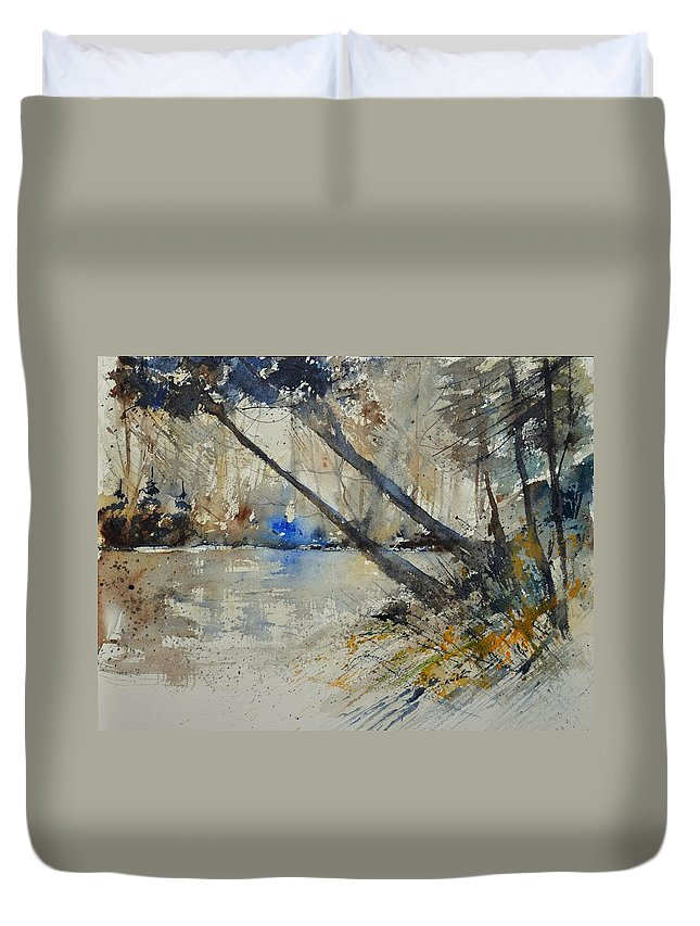 Landscape Duvet Cover featuring the painting Watercolor 119080 by Pol Ledent