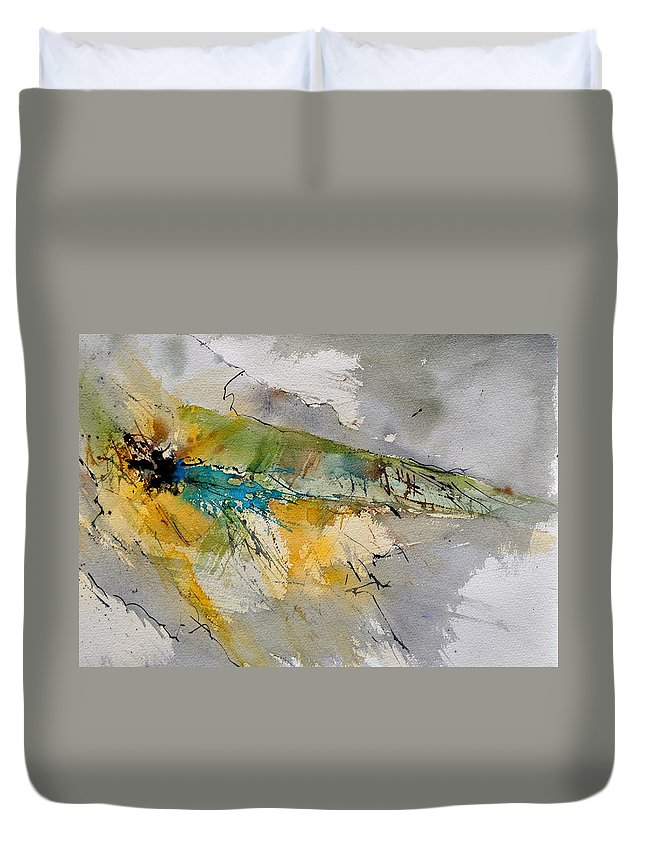 Abstract Duvet Cover featuring the painting Watercolor 213001 by Pol Ledent