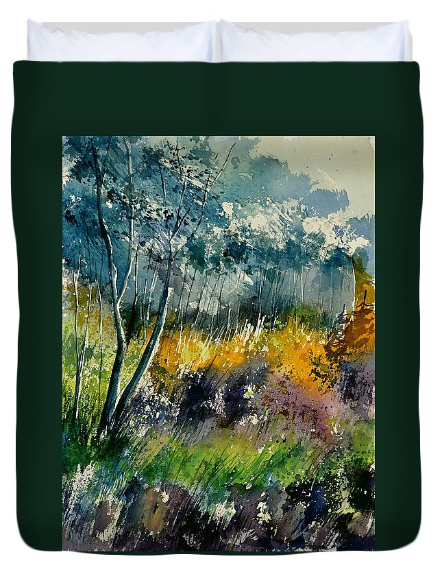 Landscape Duvet Cover featuring the painting Watercolor 216050 by Pol Ledent