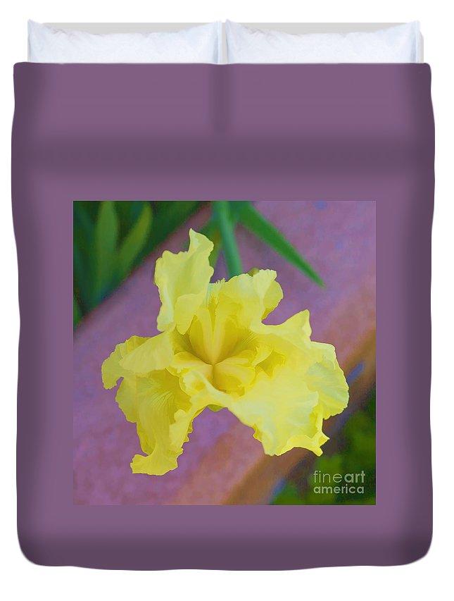 Iris Duvet Cover featuring the digital art Watercolor Iris by L J Oakes